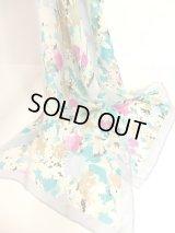 ☆ レトロアンティーク ヴィンテージスカーフ 綺麗なカラーリング♪水彩画フラワーモチーフ ☆