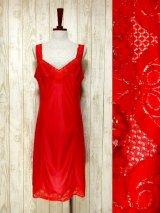 ☆ ヨーロッパ古着 重ね着にも便利で可愛い!!Flower lace装飾★ヨーロッパスリップドレス Red ☆