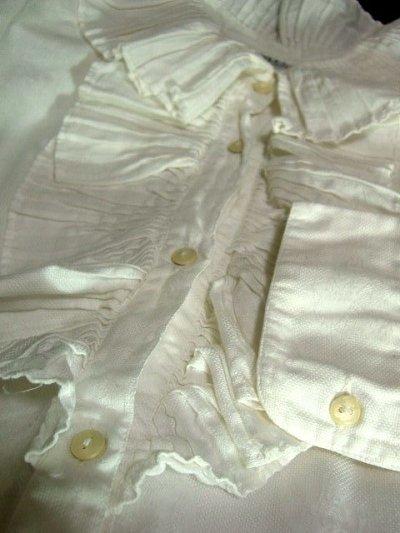 画像2: 大きめフリル襟がとってもキュート イタリア製 ヨーロッパ古着 ヴィンテージホワイトブラウス 【1326】