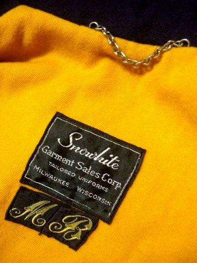 画像3: ☆ ヨーロッパ古着 60's マリンな雰囲気★オレンジカラーがチラリ♪センスが良くかっこいいデザイン!!ヴィンテージウールポンチョ ネイビー ☆