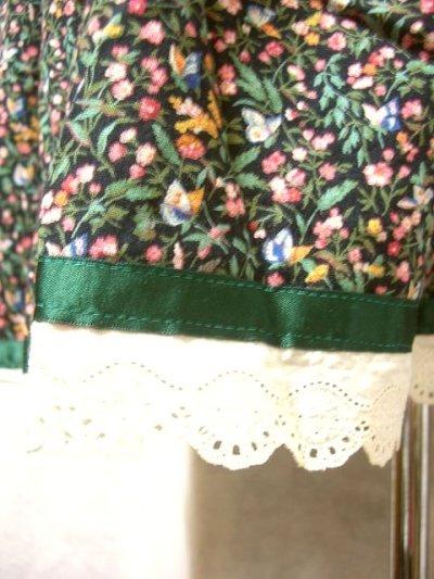画像1: チロルスカート 花柄 ハートボタン レース リボンテープ 古着