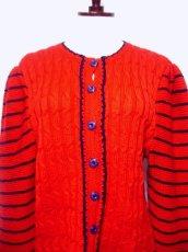 画像4: ☆ ヨーロッパ古着 ボーダー×模様編みが可愛い♪チロルニットカーディガン 赤×ネイビー ☆ (4)