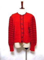 画像1: ☆ ヨーロッパ古着 ボーダー×模様編みが可愛い♪チロルニットカーディガン 赤×ネイビー ☆ (1)