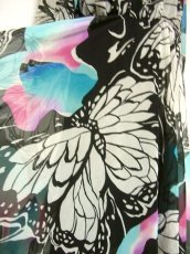 画像5: ヨーロッパ古着 大きな蝶々柄がインパクトあり!!モノクロ華やか♪シフォンドレスワンピース (5)