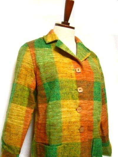 画像1: レトロな配色とチェック柄可愛い!!レトロハーフコートジャケット