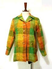 画像1: レトロな配色とチェック柄可愛い!!レトロハーフコートジャケット  (1)