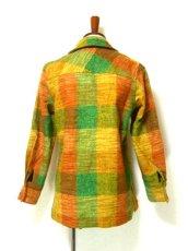 画像3: レトロな配色とチェック柄可愛い!!レトロハーフコートジャケット  (3)