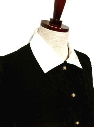 画像1: 大人可愛い♪ドット×フリル!!お花パールボタン★ベルト付き 70'sヴィンテージドレス 黒
