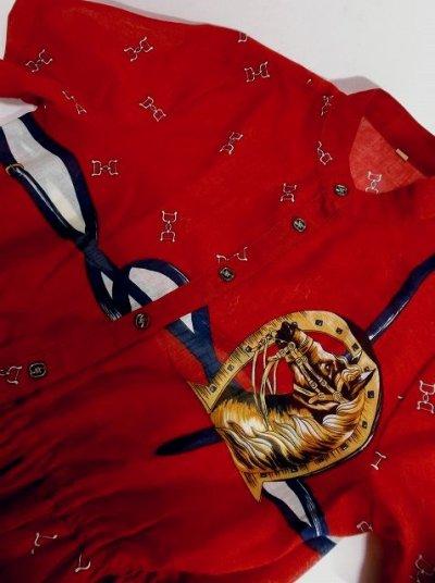画像3: 馬柄×スカーフ柄が素敵すぎる×70's大人レトロヴィンテージワンピース×プリーツ