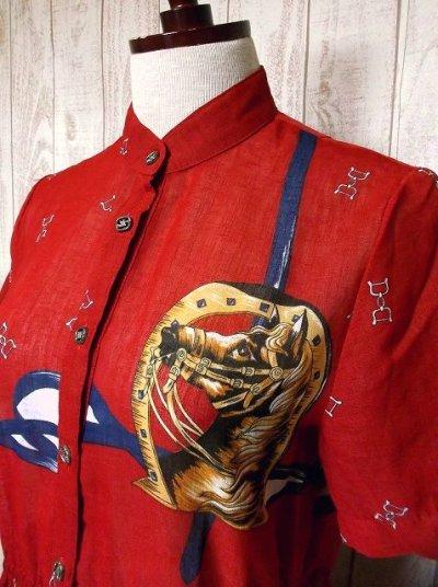 画像1: 馬柄×スカーフ柄が素敵すぎる×70's大人レトロヴィンテージワンピース×プリーツ