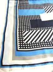 画像2: レトロアンティーク ヴィンテージスカーフ 幾何学柄 ブル【2481】 (2)
