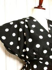 画像3: ヨーロッパ古着×モノクロ×ドット柄プリント×3段ディアードスカートがキュート×ヴィンテージドレスワンピース (3)