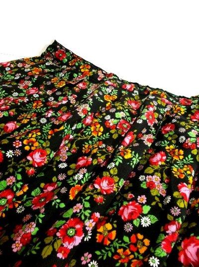 画像3: ☆ ヨーロッパヴィンテージ お花畑のようなアンティークフラワープリント柄♪乙女ガーリーフレアスカート ☆