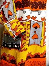 画像3: 70'sレトロポップ×北欧なプリント柄もGood〜♪お洒落なレトロPOPヴィンテージワンピース オレンジ×ブラウン (3)