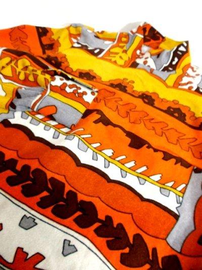 画像3: 70'sレトロポップ×北欧なプリント柄もGood〜♪お洒落なレトロPOPヴィンテージワンピース オレンジ×ブラウン