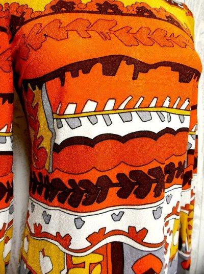 画像2: 70'sレトロポップ×北欧なプリント柄もGood〜♪お洒落なレトロPOPヴィンテージワンピース オレンジ×ブラウン