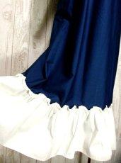 画像5: ヨーロッパ古着 ぷっくりお花刺繍が魅力的!!ふんわりラインが可愛い♪ヴィンテージドレスワンピース ネイビー×オフホワイト (5)
