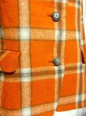 画像4: ヴィンテージジャケット ヨーロッパ古着 チェック柄×オレンジカラーが可愛い♪こだわり大きめレトロボタン装飾 (4)