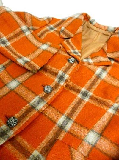 画像3: ヴィンテージジャケット ヨーロッパ古着 チェック柄×オレンジカラーが可愛い♪こだわり大きめレトロボタン装飾