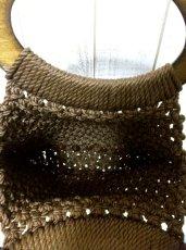 画像5: 大きな持ち手 ウッドハンドル ブラウン USA レディース レトロ ハンド 鞄 バッグ【2708】 (5)