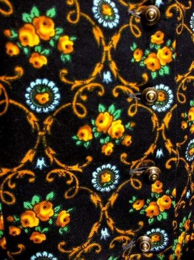 画像2: 花柄 ブラック イエロー 半袖 クラシカル ディアンドル チロルワンピース ドイツ民族衣装 舞台 演奏会 フォークダンス オクトーバーフェスト 【1369】