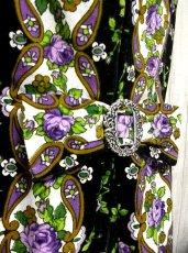 画像3: 薔薇柄×ウエストにバックルリボン 大人の雰囲気 ディアンドル チロルワンピース ドイツ民族衣装 舞台 演奏会 フォークダンス オクトーバーフェスト 【1632】 (3)