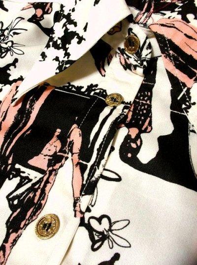 画像2: ☆ 鳥×ヴィンテージアート!!なかなか巡り合えないお洒落でカッコイイプリントパターン×カラーリング配色!!上質70'sヴィンテージブラウス ☆