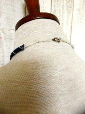 画像5: ヨーロッパ古着 刺繍入りネクタイ付きデザイン♪レトロマリン×ストライプ柄!!主役級デザイン!!ヴィンテージワンピース ネイビー×ホワイト (5)