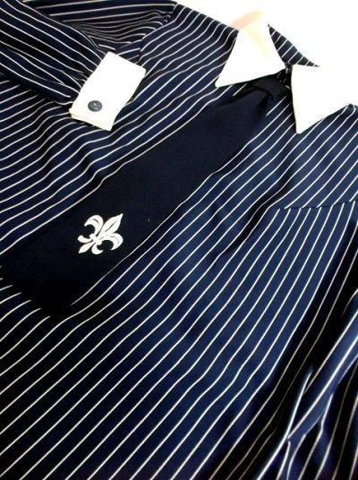 画像3: ヨーロッパ古着 刺繍入りネクタイ付きデザイン♪レトロマリン×ストライプ柄!!主役級デザイン!!ヴィンテージワンピース ネイビー×ホワイト
