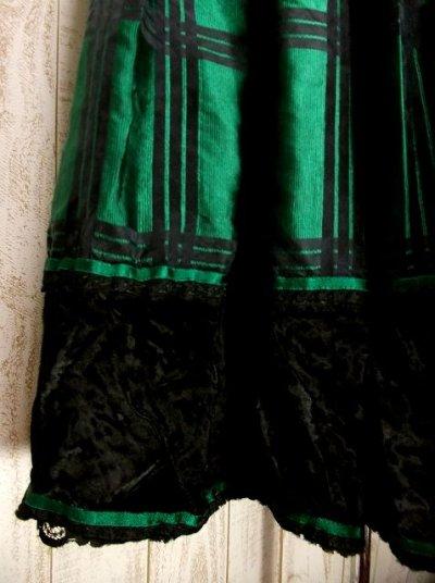 画像2: 西ドイツ製レトロクラシカルライン シルク×ベルベット切り替えし チェック柄 チロルスカート ドイツ民族衣装 舞台 演劇 演奏会 フォークダンス オクトーバーフェスト 【2865】