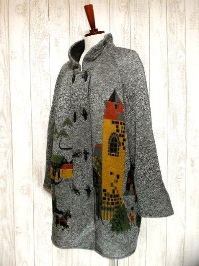 画像2: ☆ 馬車・お城模様編みが可愛すぎる♪デザインが魅力的★レトロフォークロア インポート上質コート ☆