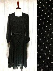 画像1: ヨーロッパ古着 上品カワイイ!!大人ドット♪リボン結びでウエストマーク★ヴィンテージドレス (1)