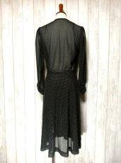 画像5: ヨーロッパ古着 上品カワイイ!!大人ドット♪リボン結びでウエストマーク★ヴィンテージドレス (5)