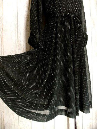 画像3: ヨーロッパ古着 上品カワイイ!!大人ドット♪リボン結びでウエストマーク★ヴィンテージドレス