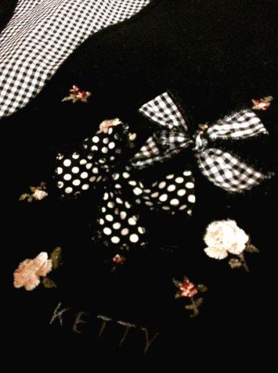 画像2: ☆ ガーリー度満載♪ドット柄×リボン刺繍!!&リボン装飾☆裏地はギンガムチェック柄〜!!可愛いウールベスト ☆