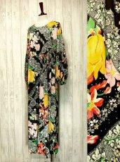 画像1: USA古着 レトロPOPサイケフラワー★ドット×アンティークレース柄が魅力的ー!!バルーン袖も可愛い♪レトロサイケヴィンテージドレス (1)
