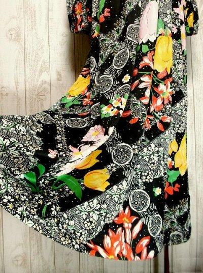 画像2: USA古着 レトロPOPサイケフラワー★ドット×アンティークレース柄が魅力的ー!!バルーン袖も可愛い♪レトロサイケヴィンテージドレス