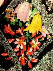 画像4: USA古着 レトロPOPサイケフラワー★ドット×アンティークレース柄が魅力的ー!!バルーン袖も可愛い♪レトロサイケヴィンテージドレス (4)