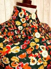 画像2: 花柄 グリーン 大きな襟 USA古着 長袖 シャツ ヴィンテージトップス【3026】 (2)