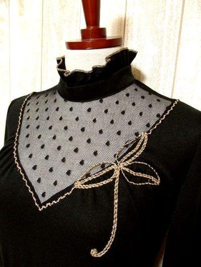 画像1: ヨーロッパ古着 ドット柄×goldリボン装飾〜♪首元・スカートフリルも素敵ー!!ふんわりスカートラインの大人クラシカルヴィンテージドレス 黒