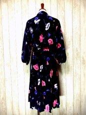 画像4: ヨーロッパ古着 tops・skirt はプリーツ〜♪綺麗なフラワー柄×カラーリングの組み合わせが魅力的★華やか大人ヴィンテージドレス (4)