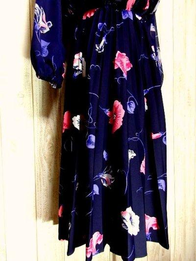 画像2: ヨーロッパ古着 tops・skirt はプリーツ〜♪綺麗なフラワー柄×カラーリングの組み合わせが魅力的★華やか大人ヴィンテージドレス