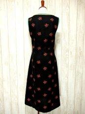 画像4: ヨーロッパ古着×Goldリボン装飾×アンティークフラワー×ジッパー開き×大人可愛いヨーロピアンヴィンテージドレス (4)