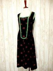 画像3: ヨーロッパ古着×Goldリボン装飾×アンティークフラワー×ジッパー開き×大人可愛いヨーロピアンヴィンテージドレス (3)