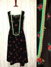 画像1: ヨーロッパ古着×Goldリボン装飾×アンティークフラワー×ジッパー開き×大人可愛いヨーロピアンヴィンテージドレス (1)