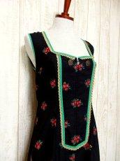 画像2: ヨーロッパ古着×Goldリボン装飾×アンティークフラワー×ジッパー開き×大人可愛いヨーロピアンヴィンテージドレス (2)