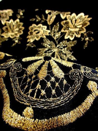 画像3: ヨーロッパ古着×贅沢なフラワー刺繍が素晴らしい×ウエストキュッとスカートふんわりライン×ふんわりパフスリーブ大人デザイン×レトロヴィンテージドレス