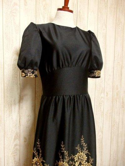 画像1: ヨーロッパ古着×贅沢なフラワー刺繍が素晴らしい×ウエストキュッとスカートふんわりライン×ふんわりパフスリーブ大人デザイン×レトロヴィンテージドレス