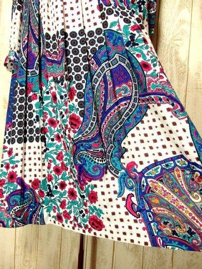 画像2: USA古着 ペイズリー柄・アンティークフラワー♪スカーフ柄パターンが魅力的すぎるー!!大人クラシカル×カラフルサイケ ヴィンテージドレス ベルトSET