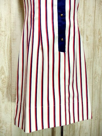 画像2: ヨーロッパ古着×レトロマリンスタイルに変身×ストライプ×トリコロールカラーの組み合わせがお洒落×大人マリンなヴィンテージワンピース
